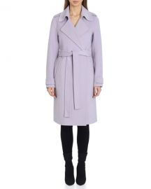 Badgley Mischka Double Face Wool Blend Wrap Front Coat at Last Call
