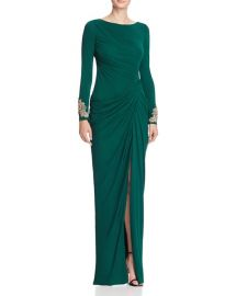 Badgley Mischka Draped Gown  green at Bloomingdales