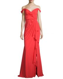 Badgley Mischka Off-the-Shoulder Stretch Silk Sweetheart Gown at Neiman Marcus