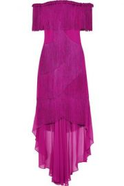 Badgley Mischka Off-the-shoulder Fringed Crepe and Chiffon Gown at The Outnet