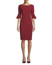 Badgley Mischka Pinched-Sleeve Sheath Dress at Bergdorf Goodman