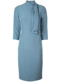 Badgley Mischka Tie-neck Fitted Midi Dress - Farfetch at Farfetch