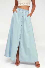 Baez Chambray Maxi Skirt at Lulus