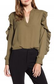 Bailey 44 Emma Pleated Ruffle Blouse   Nordstrom at Nordstrom