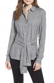 Bailey 44 Hold Me Tight Houndstooth Check Tie Front Shirt   Nordstrom at Nordstrom