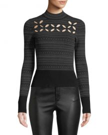Bailey 44 Slalom Cutout Turtleneck Sweater at Neiman Marcus