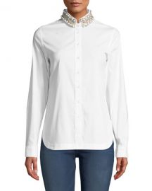 Bailey 44 Ursula Embellished Button-Front Top at Neiman Marcus