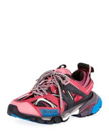 Balenciaga Mixed-Media Leather Track Sneakers at Neiman Marcus