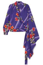 Balenciaga - Floral-print silk-crepon wrap top at Net A Porter
