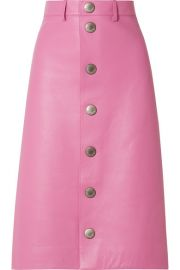 Balenciaga - Leather midi skirt at Net A Porter