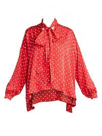 Balenciaga - Polka Dot Tieneck Blouse at Saks Fifth Avenue
