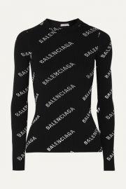 Balenciaga - Printed ribbed-knit top at Net A Porter