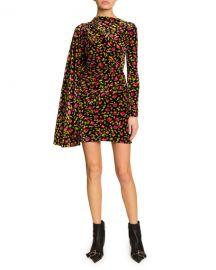 Balenciaga Floral Print Draped Side Velvet Dress at Neiman Marcus