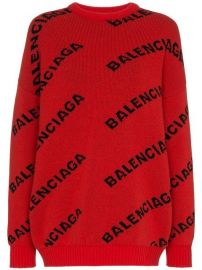 Balenciaga Logo Print Wool Jumper - Farfetch at Farfetch