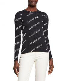 Balenciaga Long-Sleeve Techno Logo-Print Ribbed Sweater at Neiman Marcus