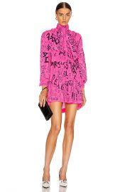 Balenciaga Pleated Babydoll Dress in Fluo Pink   FWRD at Forward