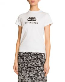 Balenciaga Short-Sleeve Logo T-Shirt at Neiman Marcus