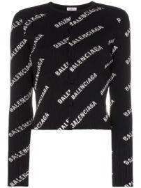 Balenciaga logo print ribbed knitted cardigan logo print ribbed knitted cardigan at Farfetch