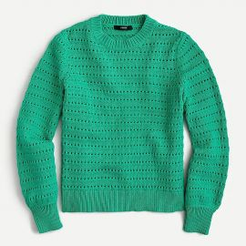 Balloon-Sleeve Pointelle Sweater by J. Crew at J. Crew