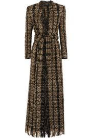 Balmain   Belted metallic boucl  -tweed coat at Net A Porter