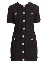 Balmain - Buttoned Tweed Mini Dress at Saks Fifth Avenue