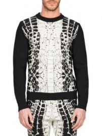 Balmain - Devore Crocodile-Motif Sweater at Saks Fifth Avenue