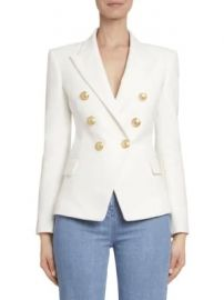 Balmain - Double Breasted Cotton Blazer at Saks Fifth Avenue