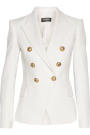 Balmain   Double-breasted basketweave cotton blazer at Net A Porter