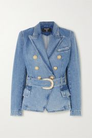 Balmain - Double-breasted belted denim blazer at Net A Porter