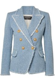 Balmain   Double-breasted cotton-blend boucl  -tweed blazer at Net A Porter
