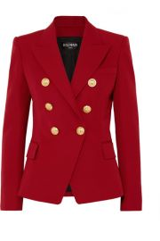Balmain   Double-breasted grain de poudre wool blazer at Net A Porter