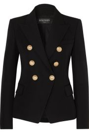Balmain - Double-breasted wool-twill blazer at Net A Porter