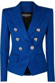 Balmain - Double-breasted woven blazer at Net A Porter