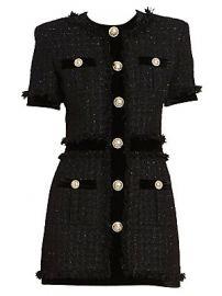 Balmain - Short Sleeve Velvet Tweed Dress at Saks Fifth Avenue