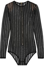 Balmain   Striped stretch-knit bodysuit at Net A Porter
