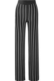 Balmain - Striped woven wide-leg pants at Net A Porter