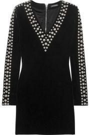 Balmain - Studded velvet mini dress at Net A Porter