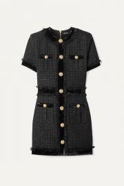 Balmain - Velvet-trimmed frayed metallic tweed mini dress at Net A Porter