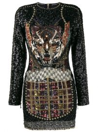 Balmain Beaded Tiger Mini Dress at Farfetch