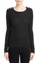 Balmain Button Detail Ribbed Sweater at Nordstrom
