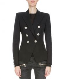 Balmain Classic Double-Breasted Wool Blazer  Black at Bergdorf Goodman