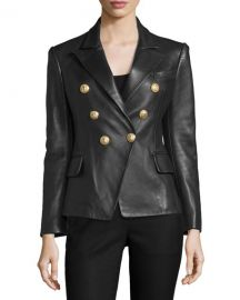 Balmain Classic Leather Double-Breasted Blazer  Black at Neiman Marcus