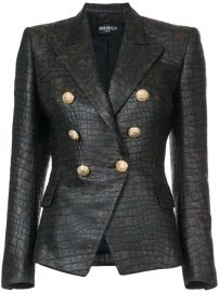 Balmain Crocodile Embossed Blazer at Farfetch