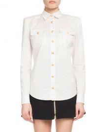 Balmain Dotted Poplin Long-Sleeve Button-Down Blouse at Neiman Marcus