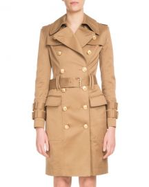 Balmain Double-Breasted Golden-Button Belted Trench Coat at Neiman Marcus