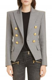 Balmain Double Breasted Wool Blend Jacket at Nordstrom