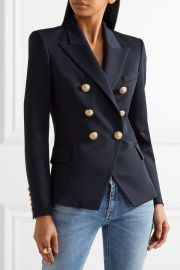 Balmain Double-breasted wool-twill blazer at Net A Porter