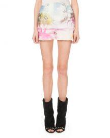 Balmain High-Waist 6-Button Palm-Print Shorts at Neiman Marcus