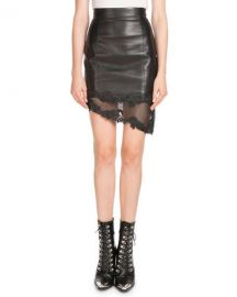 Balmain High-Waist Asymmetric Stretch-Leather Skirt w  Lace Hem at Neiman Marcus