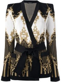 Balmain Patterned Baroque Belted Jacket at Farfetch